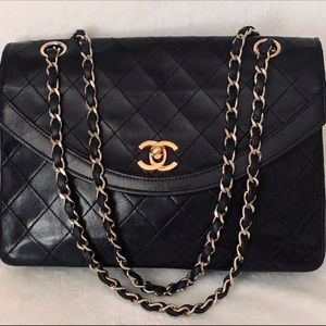CHANEL Lamb Quilted Diamond Stitch Diana Flap Bag
